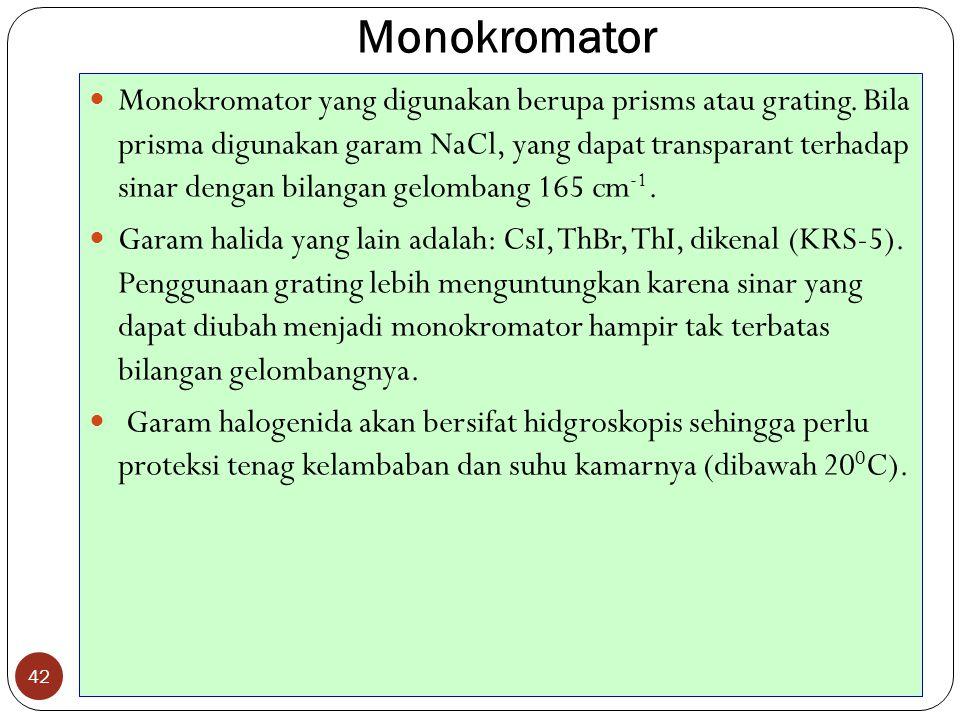 Monokromator 42 Monokromator yang digunakan berupa prisms atau grating.