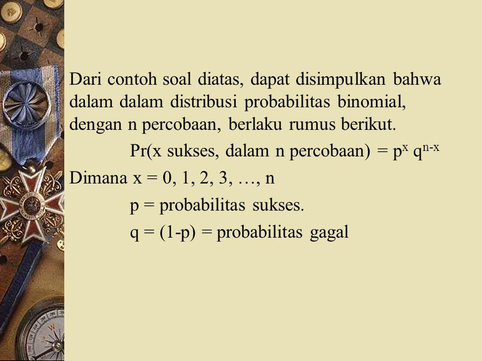 Dari contoh soal diatas, dapat disimpulkan bahwa dalam dalam distribusi probabilitas binomial, dengan n percobaan, berlaku rumus berikut. Pr(x sukses,