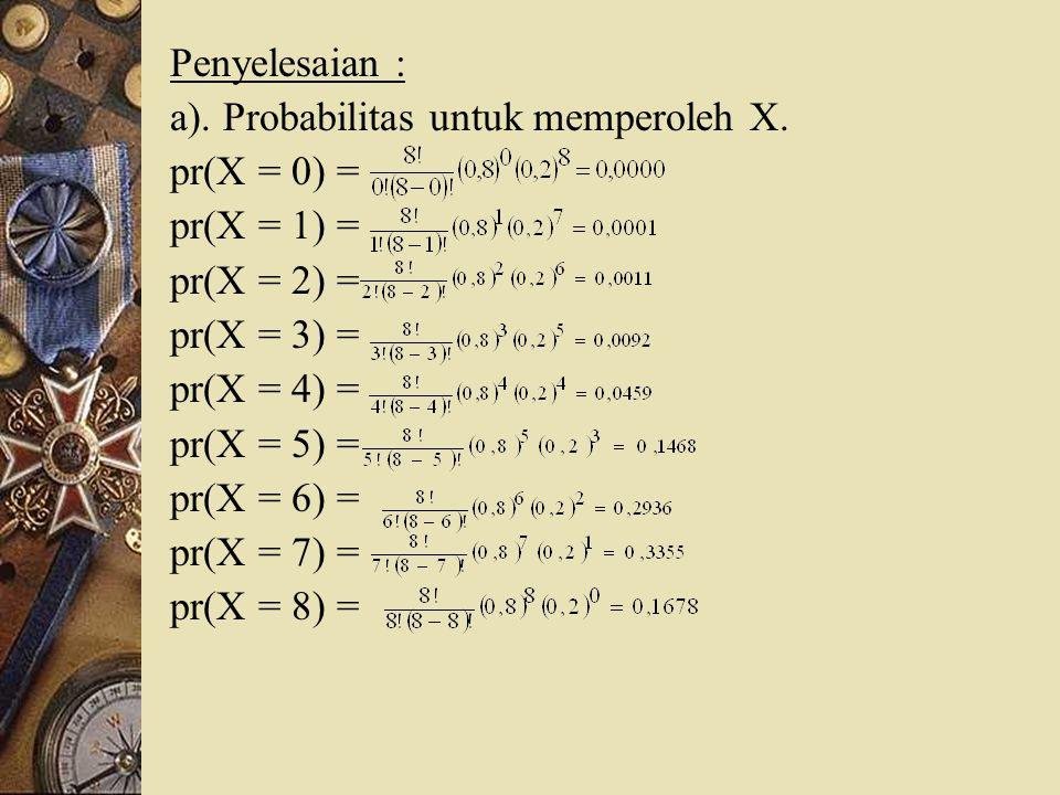 Penyelesaian : a). Probabilitas untuk memperoleh X. pr(X = 0) = pr(X = 1) = pr(X = 2) = pr(X = 3) = pr(X = 4) = pr(X = 5) = pr(X = 6) = pr(X = 7) = pr