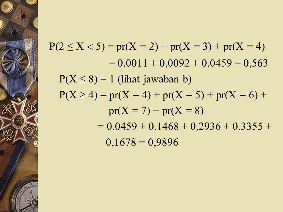 P(2 ≤ X  5) = pr(X = 2) + pr(X = 3) + pr(X = 4) = 0,0011 + 0,0092 + 0,0459 = 0,563 P(X ≤ 8) = 1 (lihat jawaban b) P(X  4) = pr(X = 4) + pr(X = 5) +