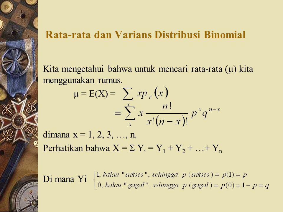 Rata-rata dan Varians Distribusi Binomial Kita mengetahui bahwa untuk mencari rata-rata (  ) kita menggunakan rumus. µ = E(X) = dimana x = 1, 2, 3, …