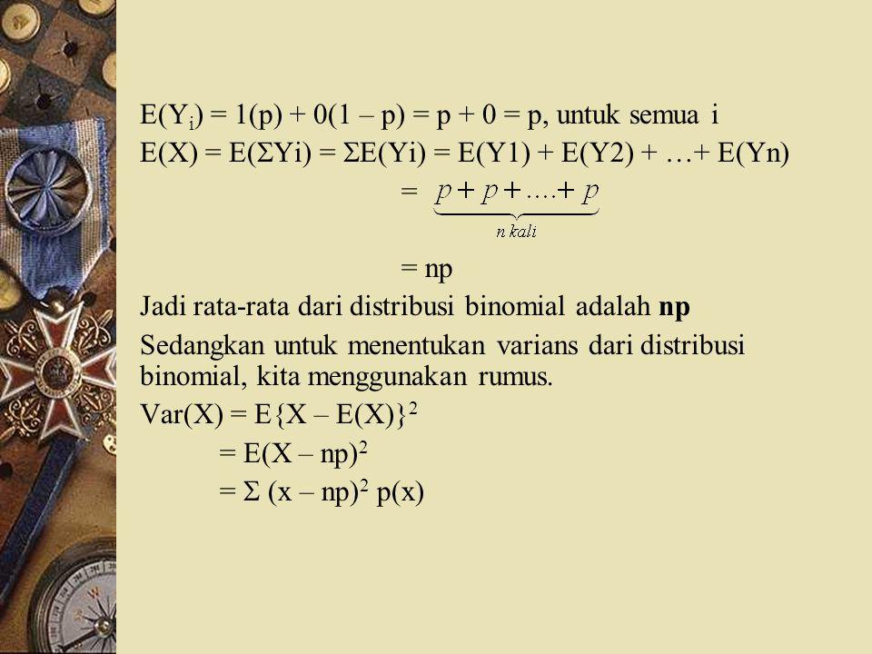 E(Y i ) = 1(p) + 0(1 – p) = p + 0 = p, untuk semua i E(X) = E(  Yi) =  E(Yi) = E(Y1) + E(Y2) + …+ E(Yn) = = np Jadi rata-rata dari distribusi binomi