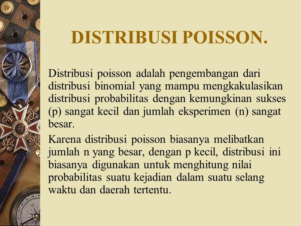 DISTRIBUSI POISSON. Distribusi poisson adalah pengembangan dari distribusi binomial yang mampu mengkakulasikan distribusi probabilitas dengan kemungki