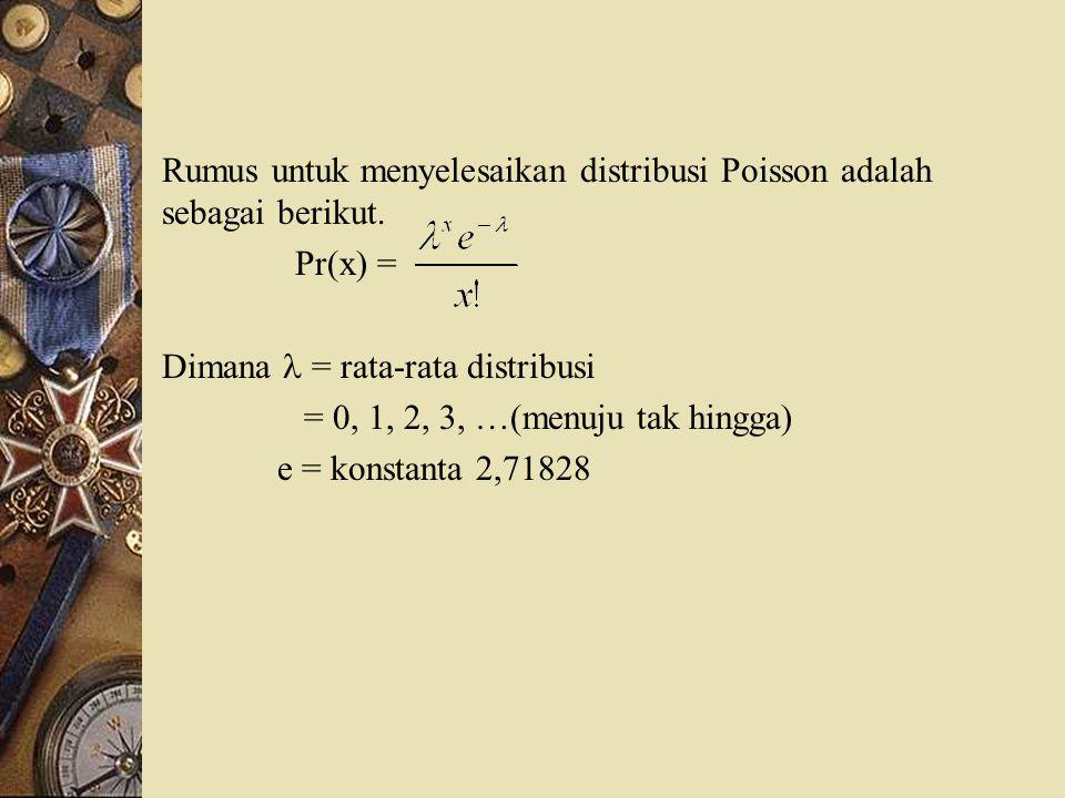 Rumus untuk menyelesaikan distribusi Poisson adalah sebagai berikut. Pr(x) = Dimana = rata-rata distribusi = 0, 1, 2, 3, …(menuju tak hingga) e = kons