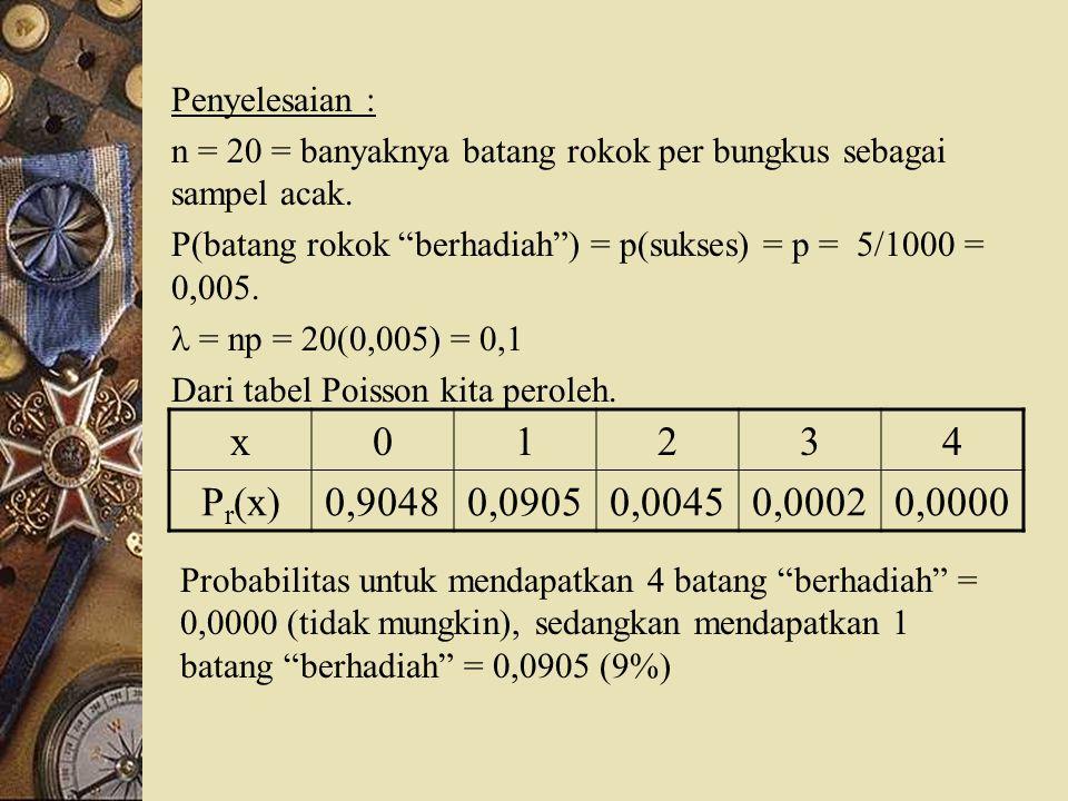 "Penyelesaian : n = 20 = banyaknya batang rokok per bungkus sebagai sampel acak. P(batang rokok ""berhadiah"") = p(sukses) = p = 5/1000 = 0,005. = np = 2"