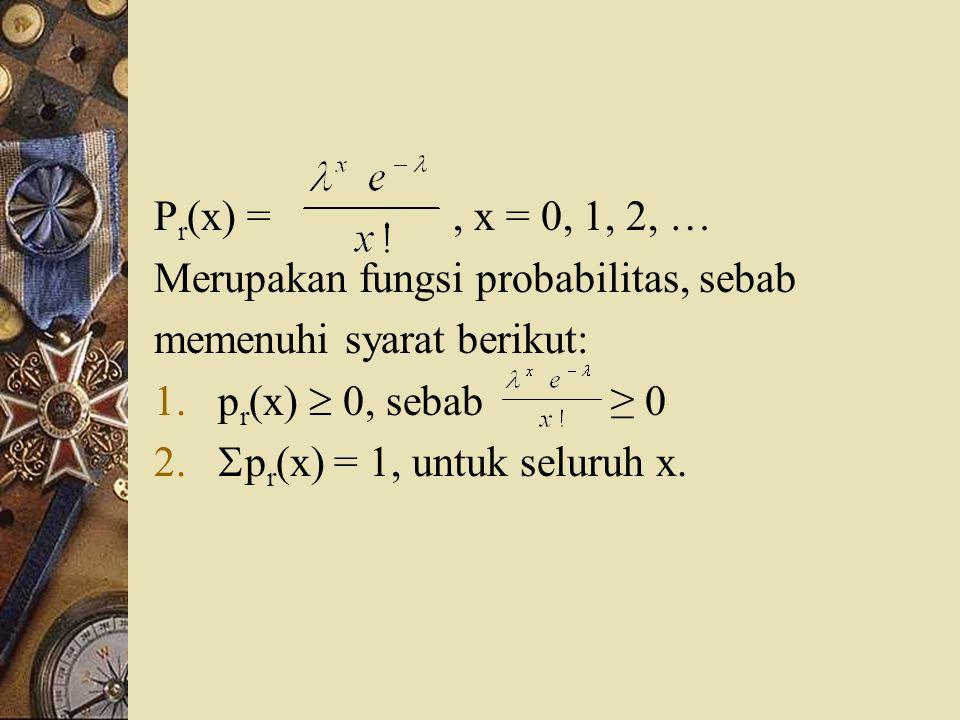P r (x) =, x = 0, 1, 2, … Merupakan fungsi probabilitas, sebab memenuhi syarat berikut: 1.p r (x)  0, sebab ≥ 0 2.  p r (x) = 1, untuk seluruh x.