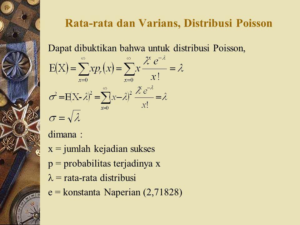 Rata-rata dan Varians, Distribusi Poisson Dapat dibuktikan bahwa untuk distribusi Poisson, dimana : x = jumlah kejadian sukses p = probabilitas terjad