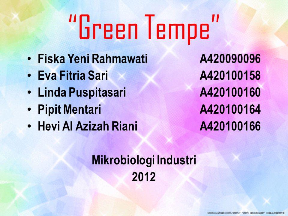 """Green Tempe"" Fiska Yeni Rahmawati A420090096 Eva Fitria Sari A420100158 Linda Puspitasari A420100160 Pipit Mentari A420100164 Hevi Al Azizah Riani A4"