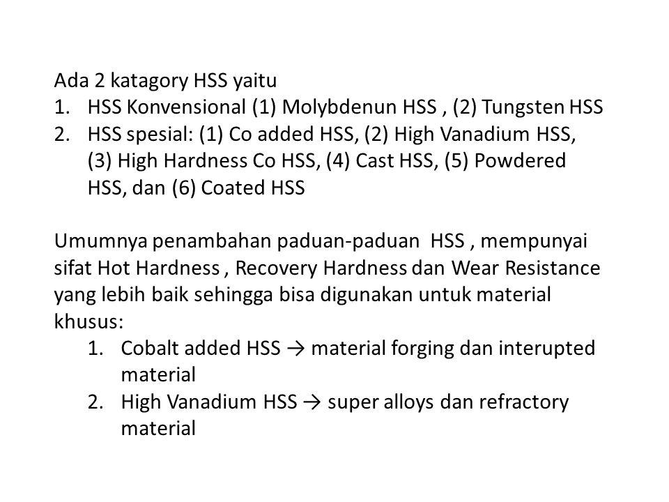 Ada 2 katagory HSS yaitu 1.HSS Konvensional (1) Molybdenun HSS, (2) Tungsten HSS 2.HSS spesial: (1) Co added HSS, (2) High Vanadium HSS, (3) High Hard