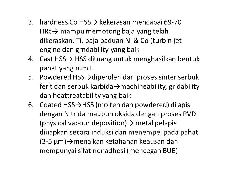 3.hardness Co HSS→ kekerasan mencapai 69-70 HRc→ mampu memotong baja yang telah dikeraskan, Ti, baja paduan Ni & Co (turbin jet engine dan grndability