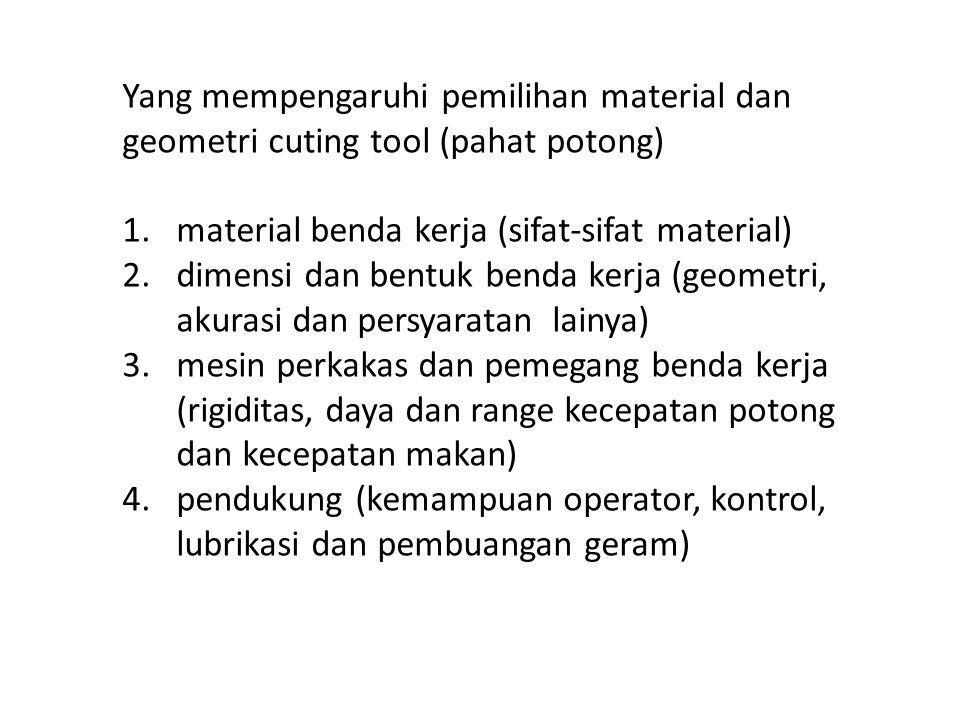 Yang mempengaruhi pemilihan material dan geometri cuting tool (pahat potong) 1.material benda kerja (sifat-sifat material) 2.dimensi dan bentuk benda