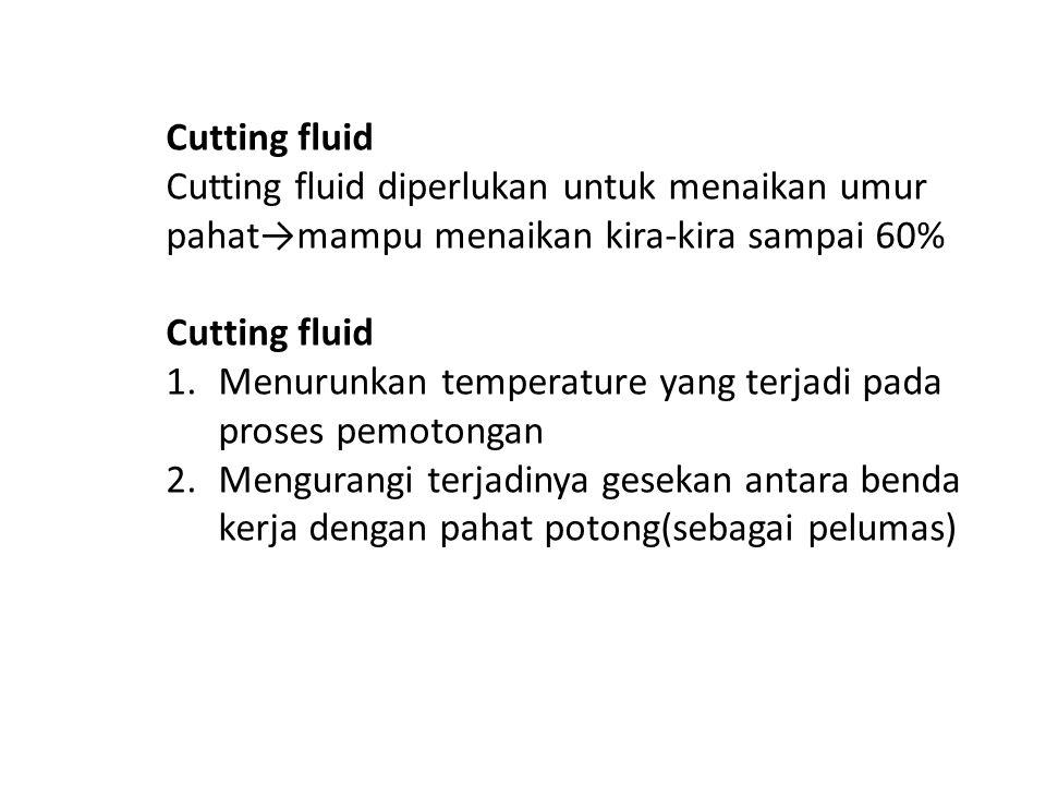 Cutting fluid Cutting fluid diperlukan untuk menaikan umur pahat→mampu menaikan kira-kira sampai 60% Cutting fluid 1.Menurunkan temperature yang terja