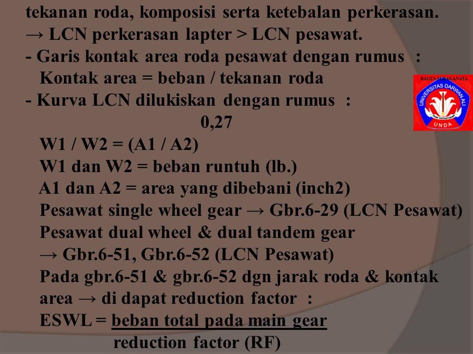 JAWAB : MR.90 = 680 psi FK = 1,7 (u/ apron & taxiway pada daerah non kritis) FK = MR.90 / Working stress Working stress = MR.90 / FK = 680 / 1,7 = 400