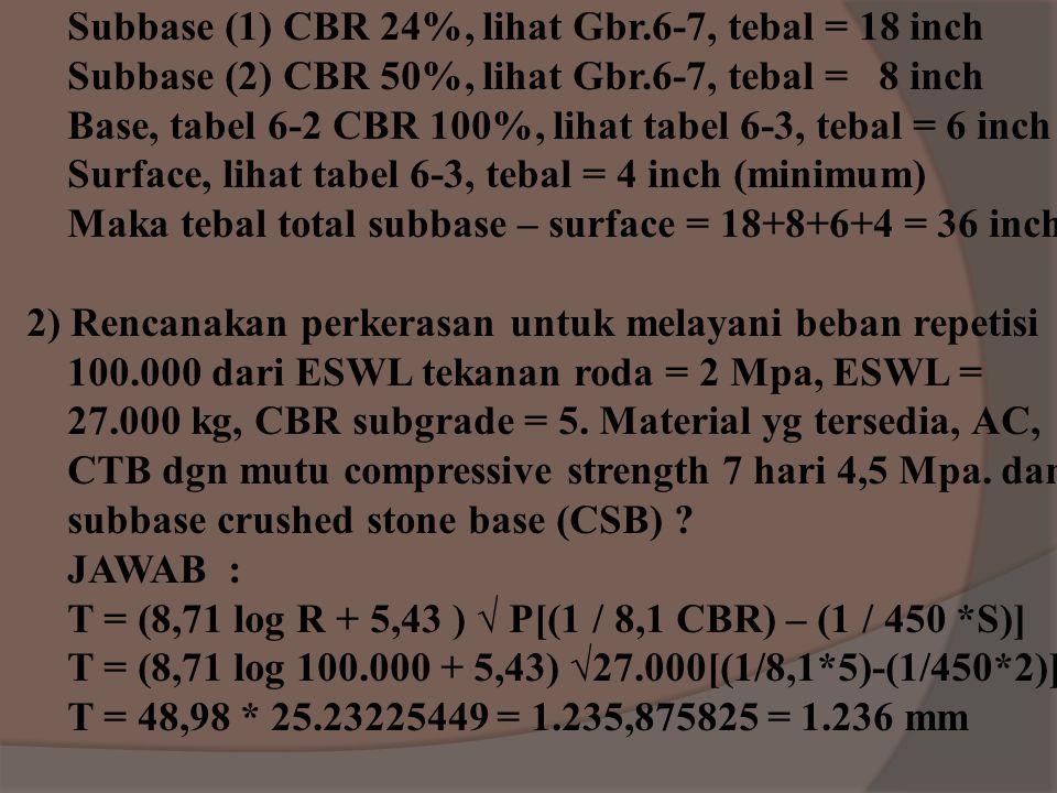 Contoh soal Flexible metode CBR : 1) Rencanakan perkerasan untuk pembebanan medium dengan traffic area type A didapat nilai CBR, LL, PI. MaterialTest