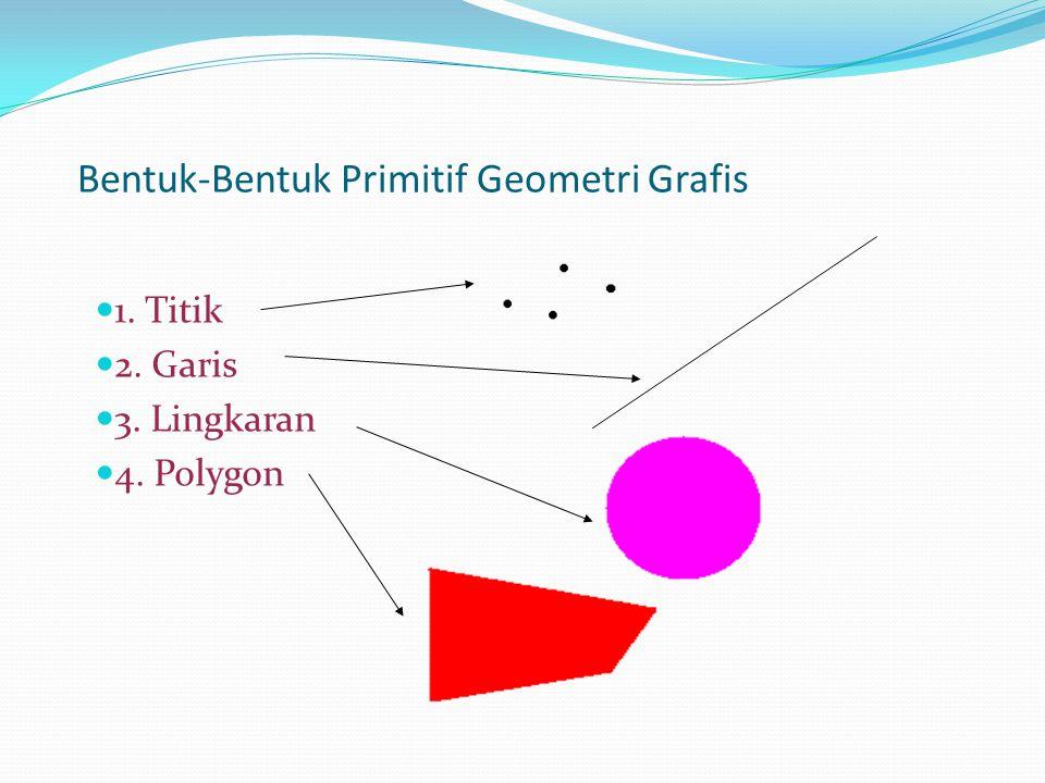 Bentuk-Bentuk Primitif Geometri Grafis 1. Titik 2. Garis 3. Lingkaran 4. Polygon