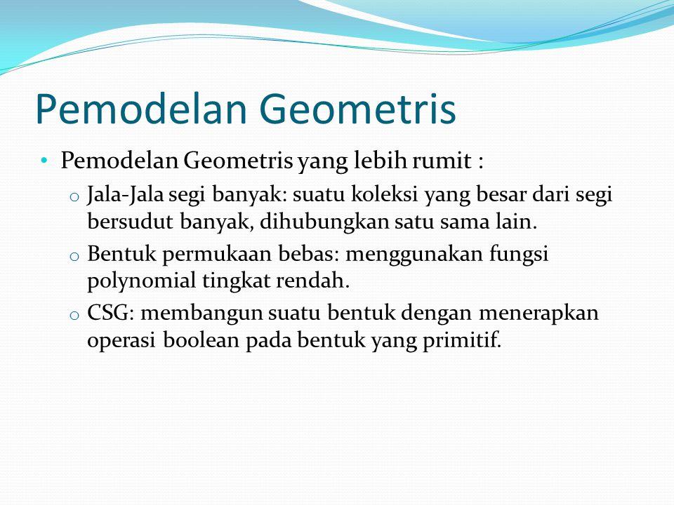 Pemodelan Geometris Pemodelan Geometris yang lebih rumit : o Jala-Jala segi banyak: suatu koleksi yang besar dari segi bersudut banyak, dihubungkan sa