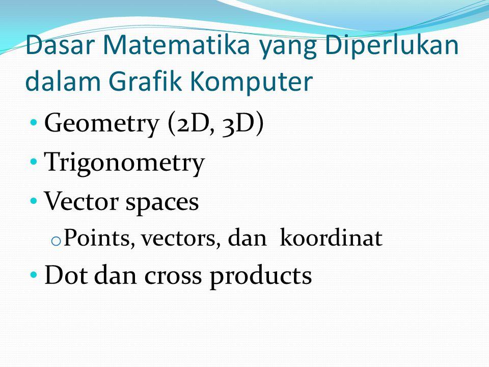 Dasar Matematika yang Diperlukan dalam Grafik Komputer Geometry (2D, 3D) Trigonometry Vector spaces o Points, vectors, dan koordinat Dot dan cross pro