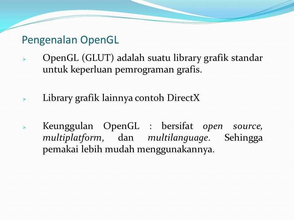 Pengenalan OpenGL  OpenGL (GLUT) adalah suatu library grafik standar untuk keperluan pemrograman grafis.  Library grafik lainnya contoh DirectX  Ke