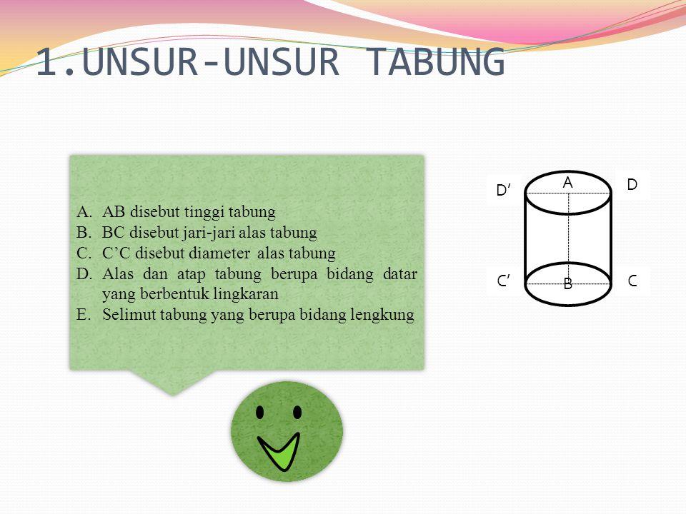 1.UNSUR-UNSUR TABUNG A D' C'C D B A.AB disebut tinggi tabung B.BC disebut jari-jari alas tabung C.C'C disebut diameter alas tabung D.Alas dan atap tabung berupa bidang datar yang berbentuk lingkaran E.Selimut tabung yang berupa bidang lengkung A.AB disebut tinggi tabung B.BC disebut jari-jari alas tabung C.C'C disebut diameter alas tabung D.Alas dan atap tabung berupa bidang datar yang berbentuk lingkaran E.Selimut tabung yang berupa bidang lengkung