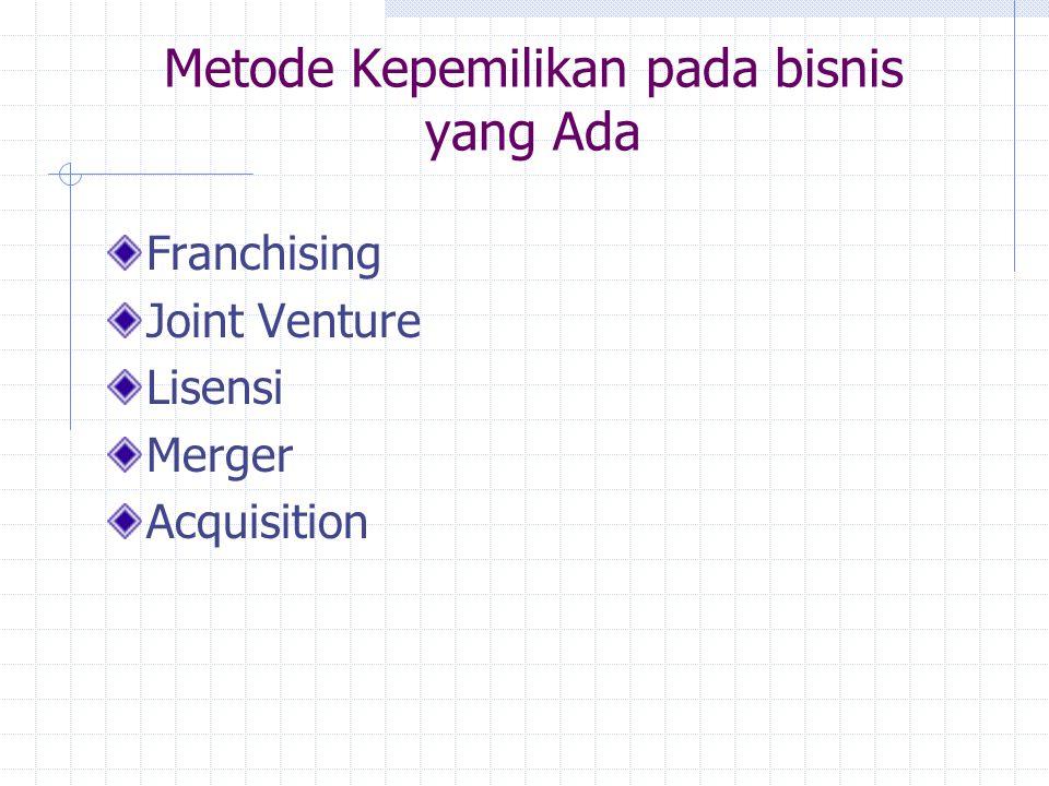 Metode Kepemilikan pada bisnis yang Ada Franchising Joint Venture Lisensi Merger Acquisition