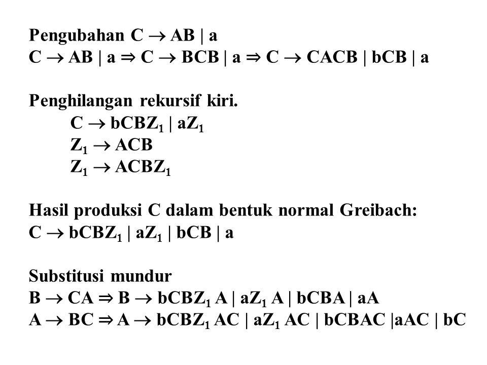 Pengubahan C  AB | a C  AB | a ⇒ C  BCB | a ⇒ C  CACB | bCB | a Penghilangan rekursif kiri. C  bCBZ 1 | aZ 1 Z 1  ACB Z 1  ACBZ 1 Hasil produks