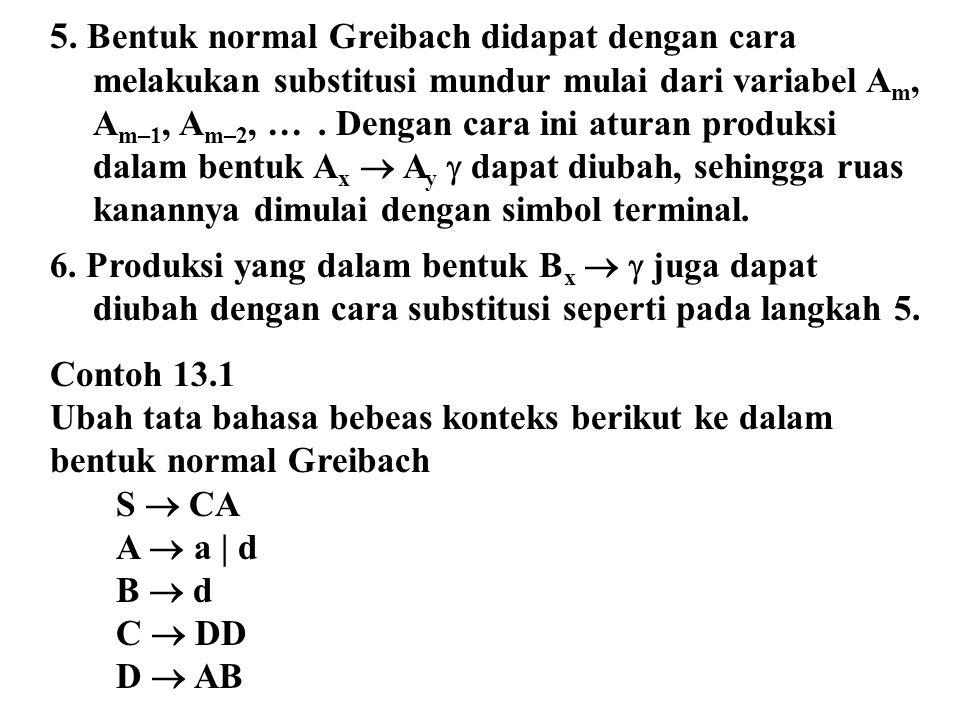 5. Bentuk normal Greibach didapat dengan cara melakukan substitusi mundur mulai dari variabel A m, A m–1, A m–2, …. Dengan cara ini aturan produksi da