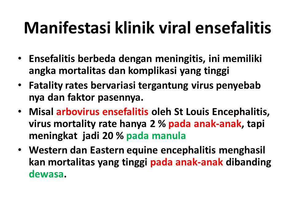 Manifestasi klinik viral ensefalitis Ensefalitis berbeda dengan meningitis, ini memiliki angka mortalitas dan komplikasi yang tinggi Fatality rates be