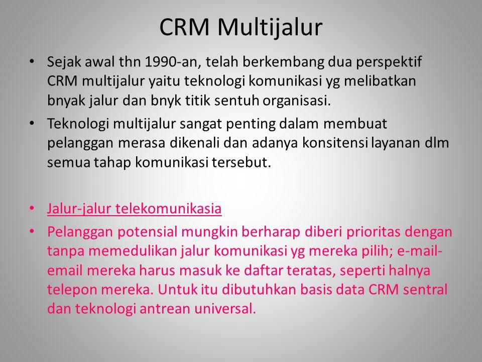CRM Multijalur Sejak awal thn 1990-an, telah berkembang dua perspektif CRM multijalur yaitu teknologi komunikasi yg melibatkan bnyak jalur dan bnyk titik sentuh organisasi.