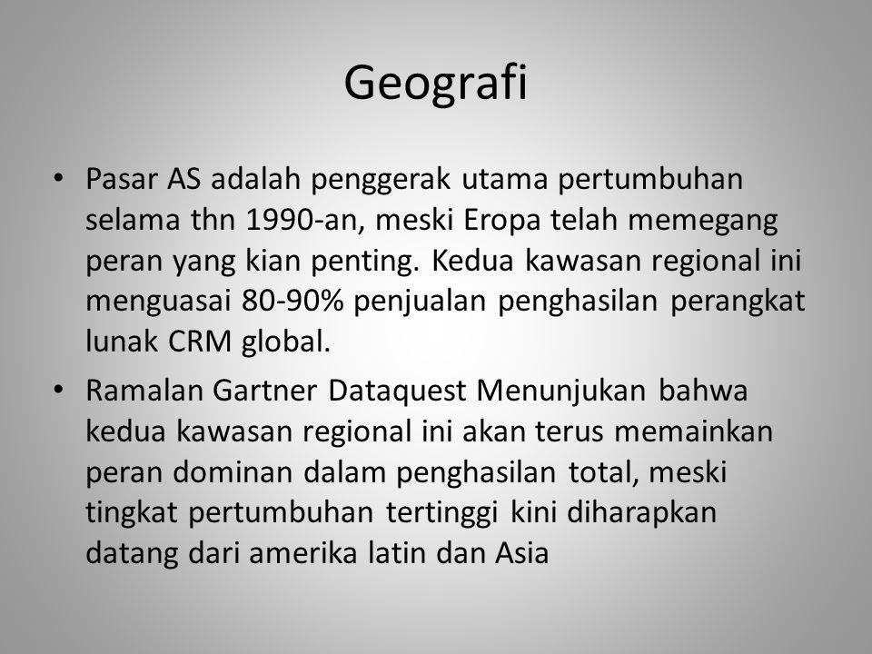 Geografi Pasar AS adalah penggerak utama pertumbuhan selama thn 1990-an, meski Eropa telah memegang peran yang kian penting.