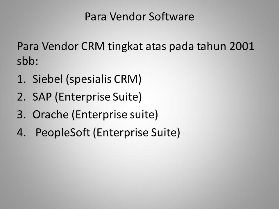 Para Vendor Software Para Vendor CRM tingkat atas pada tahun 2001 sbb: 1.Siebel (spesialis CRM) 2.SAP (Enterprise Suite) 3.Orache (Enterprise suite) 4.