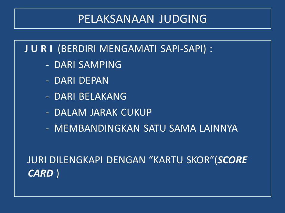 PELAKSANAAN JUDGING J U R I (BERDIRI MENGAMATI SAPI-SAPI) : - DARI SAMPING - DARI DEPAN - DARI BELAKANG - DALAM JARAK CUKUP - MEMBANDINGKAN SATU SAMA