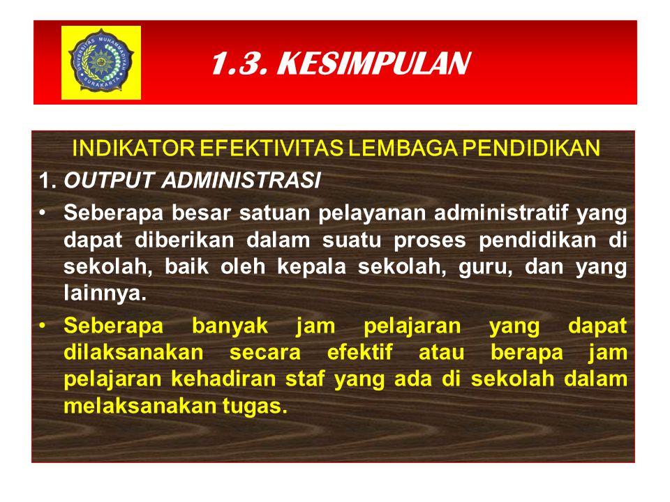 1.3. KESIMPULAN INDIKATOR EFEKTIVITAS LEMBAGA PENDIDIKAN 1. OUTPUT ADMINISTRASI Seberapa besar satuan pelayanan administratif yang dapat diberikan dal