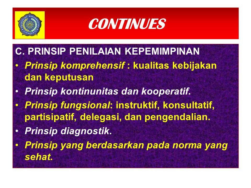 CONTINUES C.PRINSIP PENILAIAN KEPEMIMPINAN Prinsip komprehensif : kualitas kebijakan dan keputusan Prinsip kontinunitas dan kooperatif.