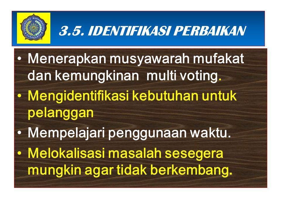 3 3.5. IDENTIFIKASI PERBAIKAN Menerapkan musyawarah mufakat dan kemungkinan multi voting. Mengidentifikasi kebutuhan untuk pelanggan Mempelajari pengg