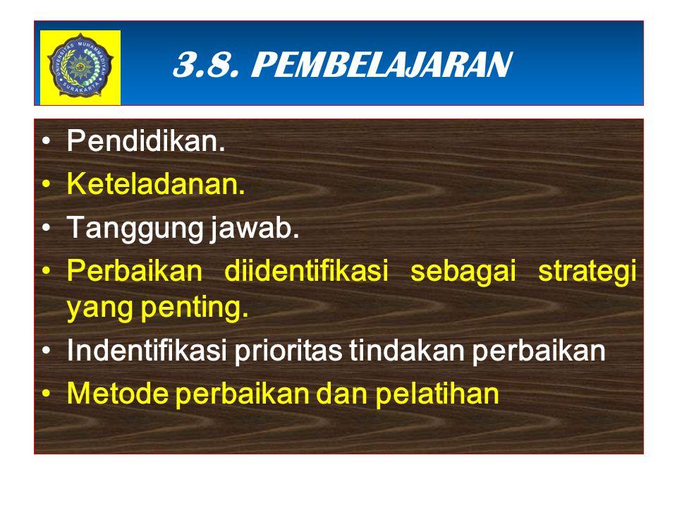 3.8. PEMBELAJARAN Pendidikan. Keteladanan. Tanggung jawab. Perbaikan diidentifikasi sebagai strategi yang penting. Indentifikasi prioritas tindakan pe