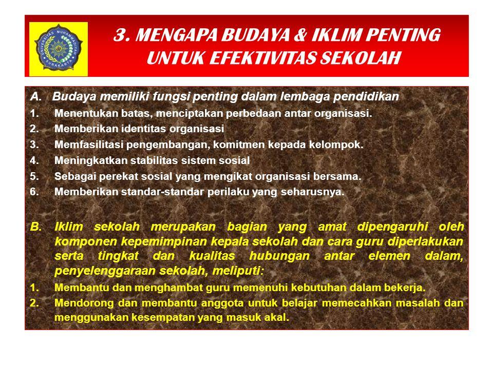 3.MENGAPA BUDAYA & IKLIM PENTING UNTUK EFEKTIVITAS SEKOLAH A.