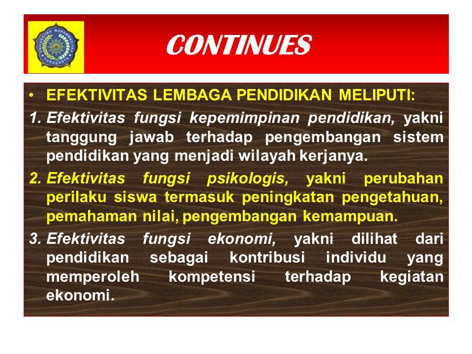 CONTINUES EFEKTIVITAS LEMBAGA PENDIDIKAN MELIPUTI: 1.Efektivitas fungsi kepemimpinan pendidikan, yakni tanggung jawab terhadap pengembangan sistem pen