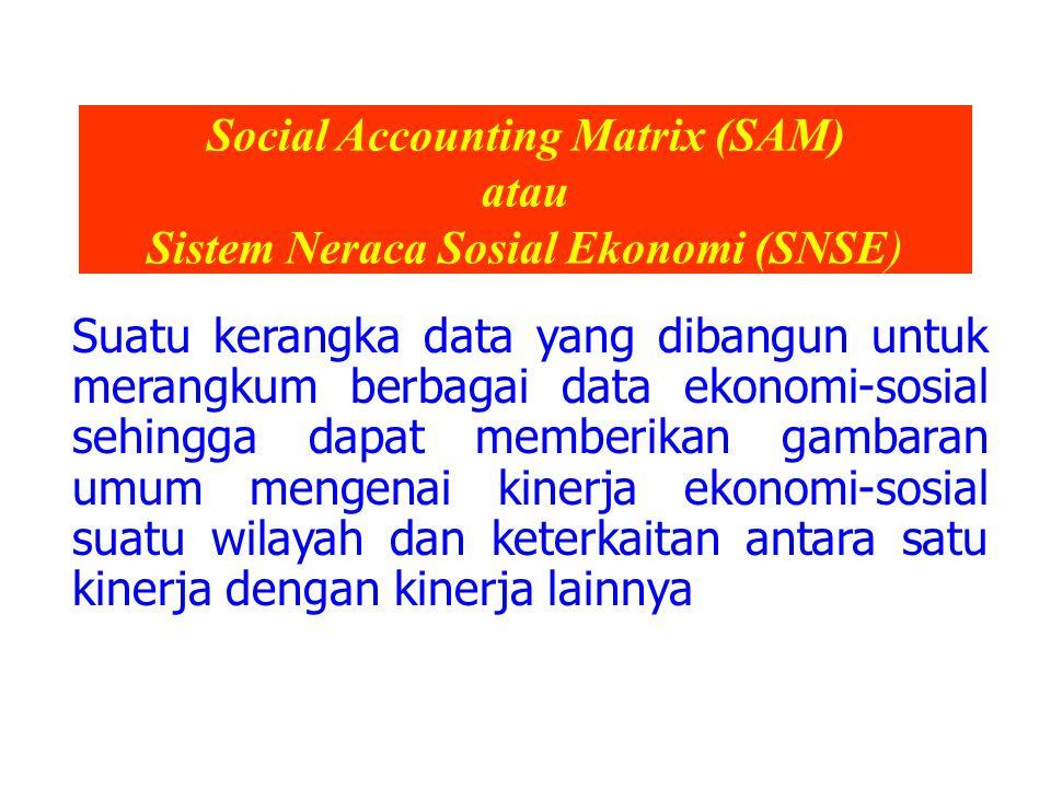 Social Accounting Matrix (SAM) atau Sistem Neraca Sosial Ekonomi (SNSE) Suatu kerangka data yang dibangun untuk merangkum berbagai data ekonomi-sosial