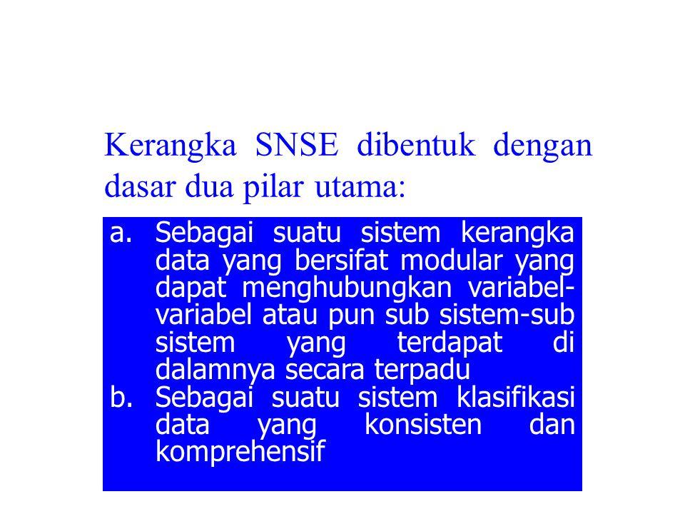 Kerangka SNSE dibentuk dengan dasar dua pilar utama: a.Sebagai suatu sistem kerangka data yang bersifat modular yang dapat menghubungkan variabel- var
