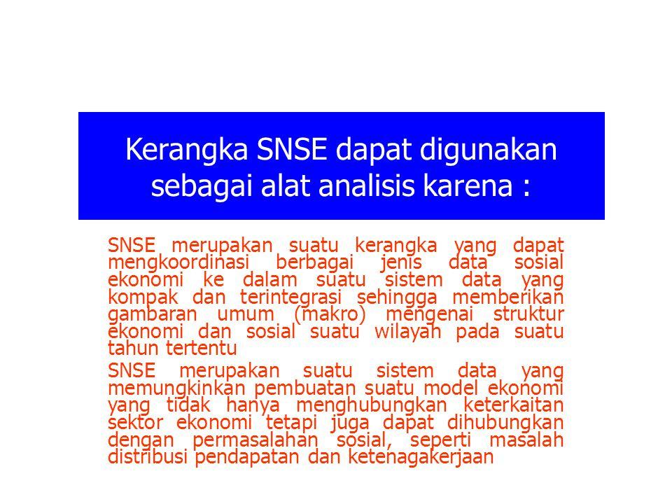 Kerangka SNSE dapat digunakan sebagai alat analisis karena : SNSE merupakan suatu kerangka yang dapat mengkoordinasi berbagai jenis data sosial ekonom