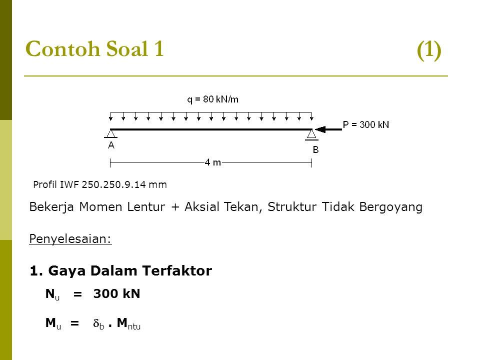 Contoh Soal 1 (1) Bekerja Momen Lentur + Aksial Tekan, Struktur Tidak Bergoyang Penyelesaian: 1. Gaya Dalam Terfaktor N u = 300 kN M u =  b. M ntu Pr
