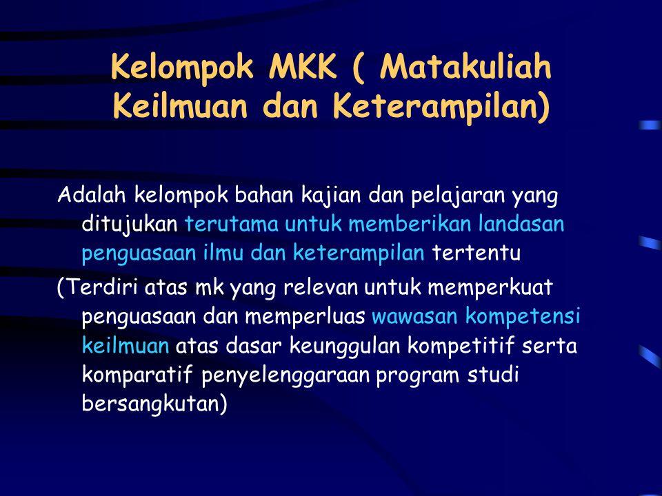 Kelompok MPK (Matakuliah Pengembangan Kepribadian) Adalah kelompok bahan kajian dan pelajaran untuk mengembangkan manusia Indonesia yang beriman dan b