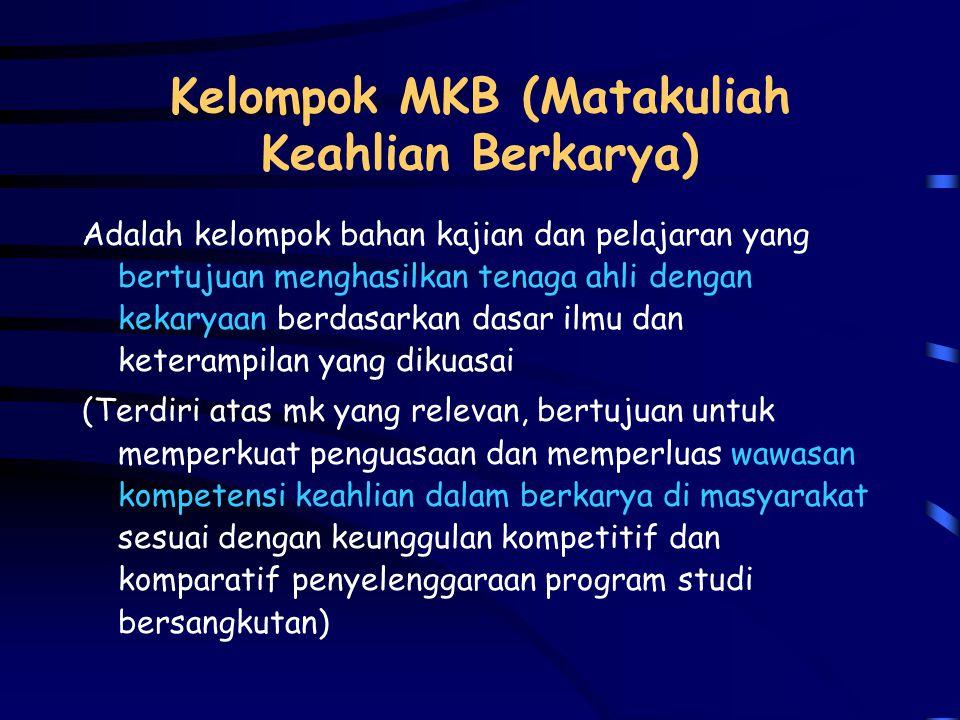 Kelompok MKK ( Matakuliah Keilmuan dan Keterampilan) Adalah kelompok bahan kajian dan pelajaran yang ditujukan terutama untuk memberikan landasan peng