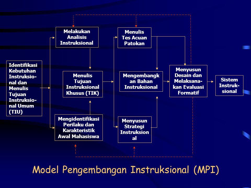 DESAIN INSTRUKSIONAL  Memilih Model Pengembangan Instruksional  Mengidentifikasi Kebutuhan Instruksional  Menulis Tujuan Instruksional Umum  Mengi