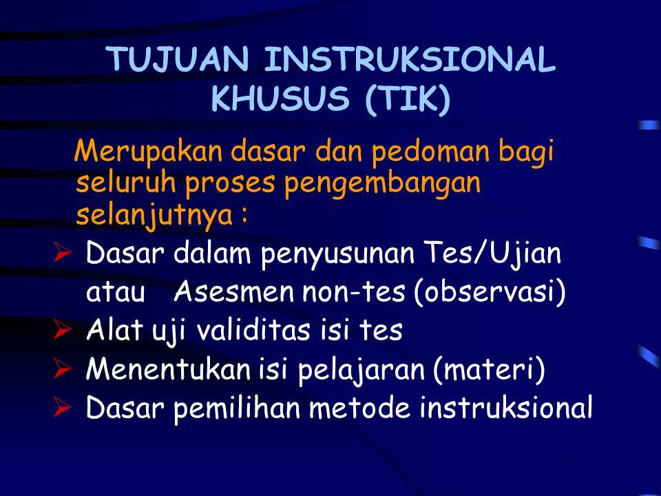 Melakukan Analisis Instruksional Kegunaan Analisis Instruksional : 1.Daftar TIK konsisten dengan TIU 2.Materi Tes terperinci 3.Urutan isi pelajaran si