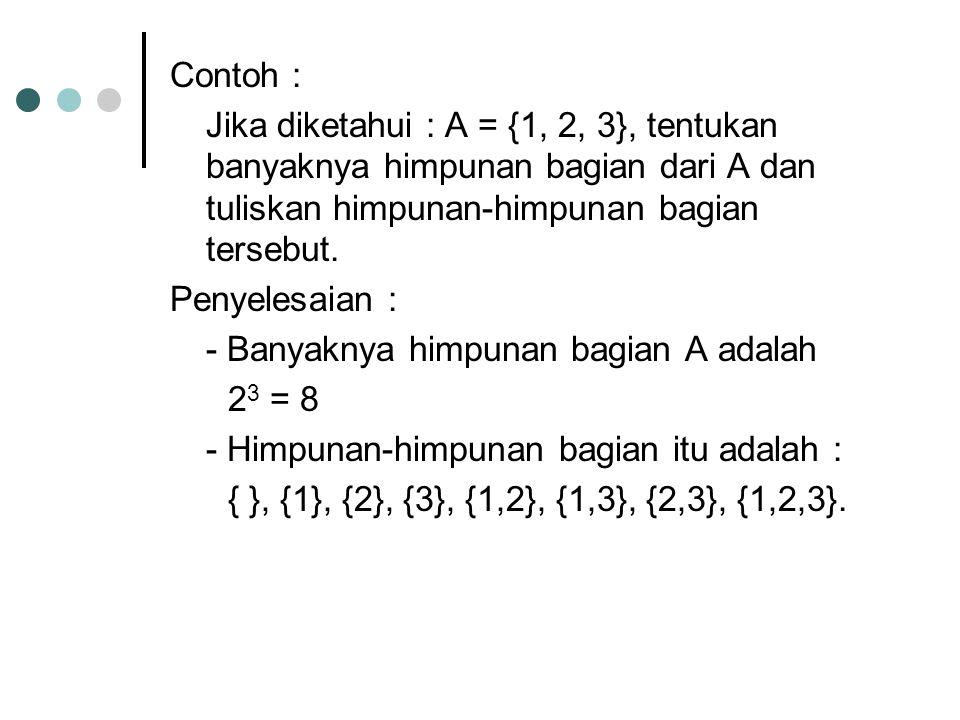 Contoh : Jika diketahui : A = {1, 2, 3}, tentukan banyaknya himpunan bagian dari A dan tuliskan himpunan-himpunan bagian tersebut. Penyelesaian : - Ba