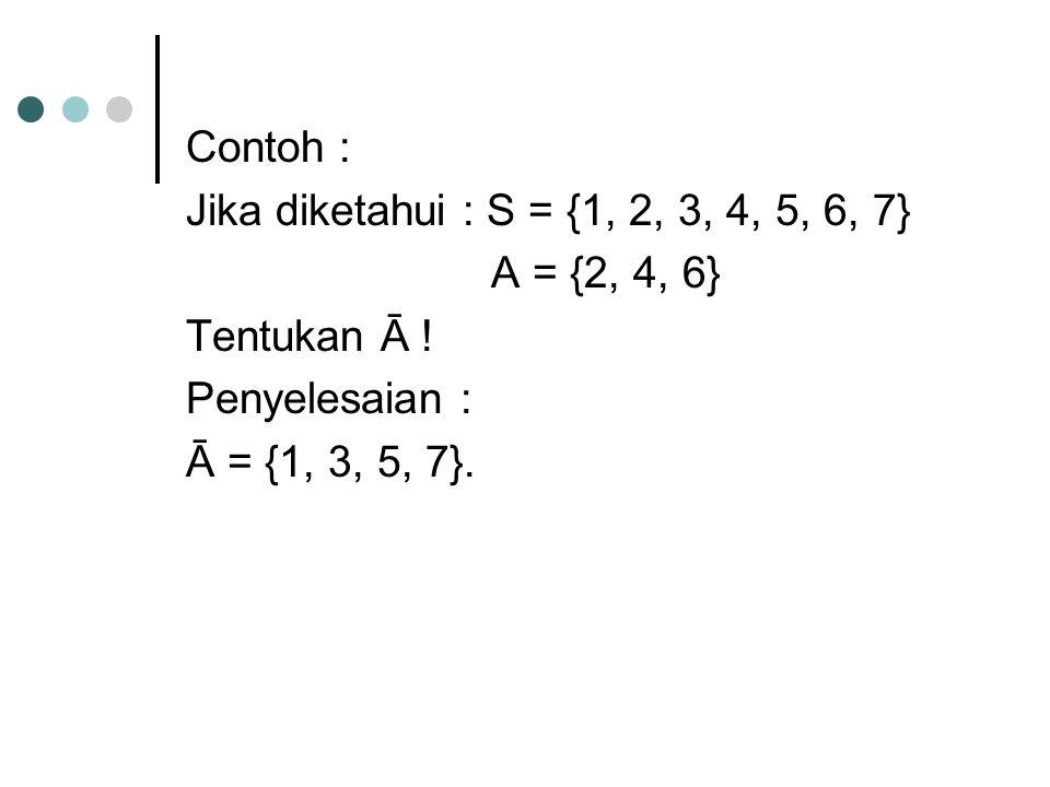 Contoh : Jika diketahui : S = {1, 2, 3, 4, 5, 6, 7} A = {2, 4, 6} Tentukan Ā ! Penyelesaian : Ā = {1, 3, 5, 7}.