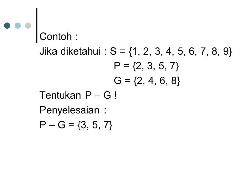 Contoh : Jika diketahui : S = {1, 2, 3, 4, 5, 6, 7, 8, 9} P = {2, 3, 5, 7} G = {2, 4, 6, 8} Tentukan P – G ! Penyelesaian : P – G = {3, 5, 7}