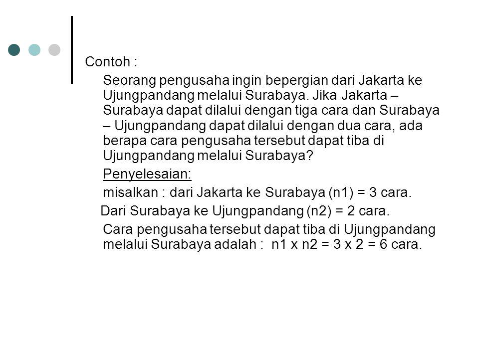 Contoh : Seorang pengusaha ingin bepergian dari Jakarta ke Ujungpandang melalui Surabaya. Jika Jakarta – Surabaya dapat dilalui dengan tiga cara dan S