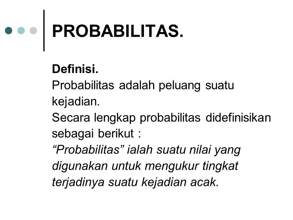 """PROBABILITAS. Definisi. Probabilitas adalah peluang suatu kejadian. Secara lengkap probabilitas didefinisikan sebagai berikut : """"Probabilitas"""" ialah s"""